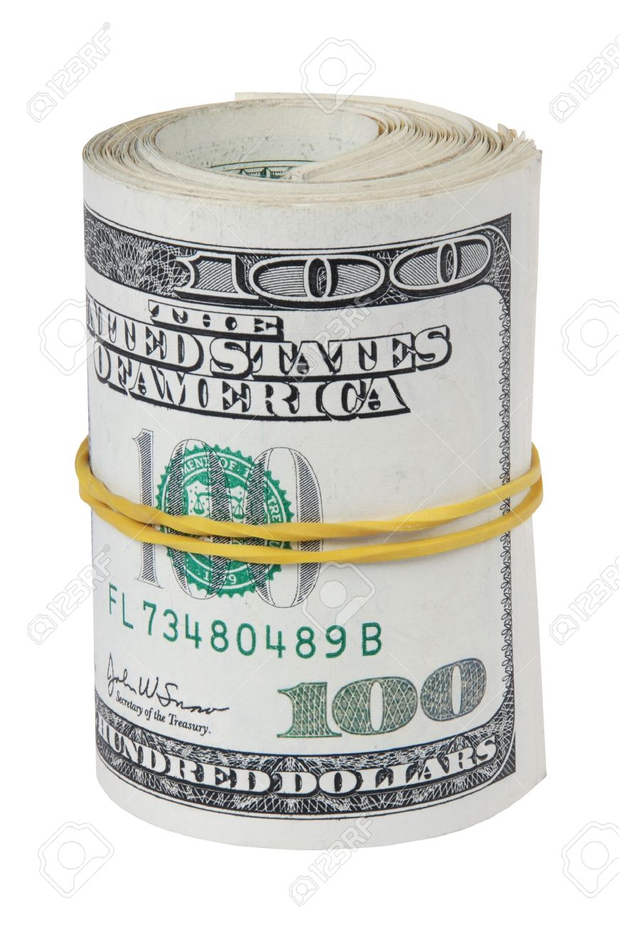 870x1300 Money Roll, Roll Of Bills, Roll Of Dollar Bills. Stock Photo