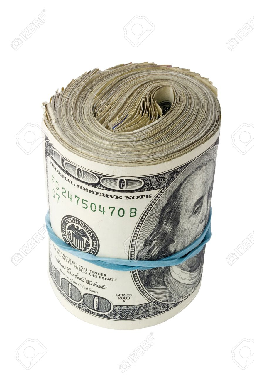 866x1300 Roll Of American Money Isolated On A White Background. Stock Photo