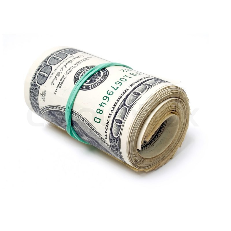 800x800 Roll Dollars On White Background (Isolated). Stock Photo Colourbox