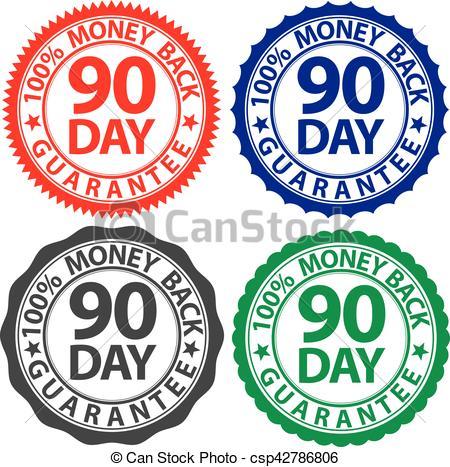 450x467 90 Day 100% Money Back Guarantee Sign Set, Vector Vector