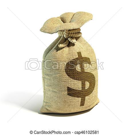 450x470 Money Sack Full Of Dollars With Dollar Sign 3d Rendering Stock