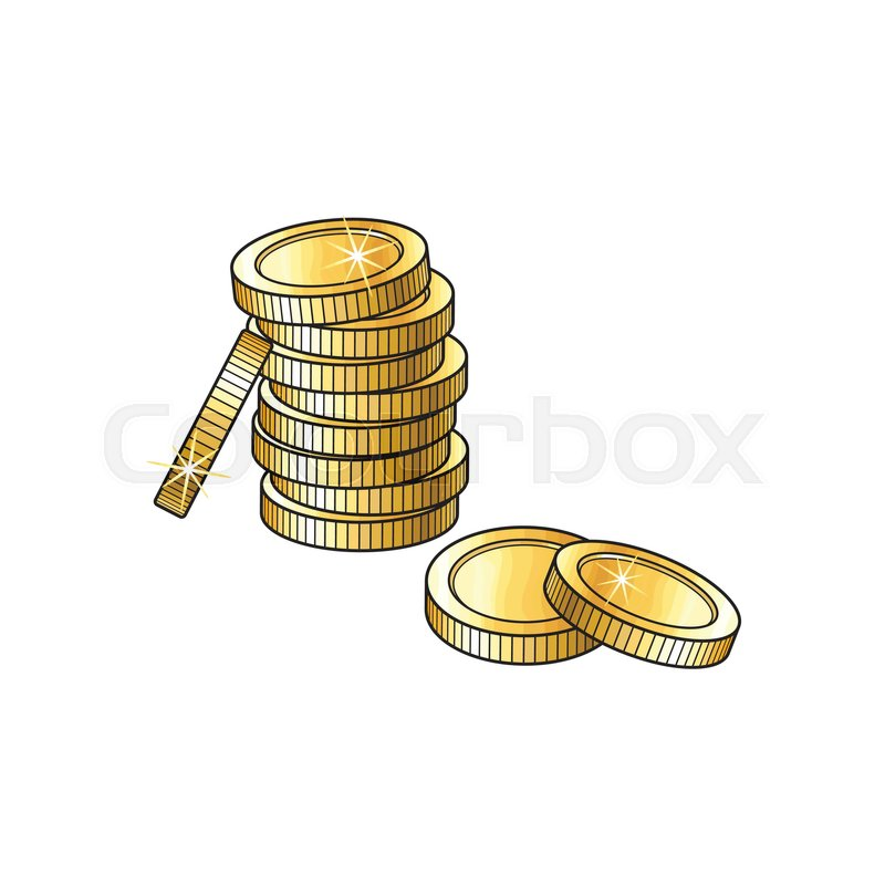 800x800 Stack, Pile Of Shiny Blank, Unlabeled Gold Coins, Sketch Vector