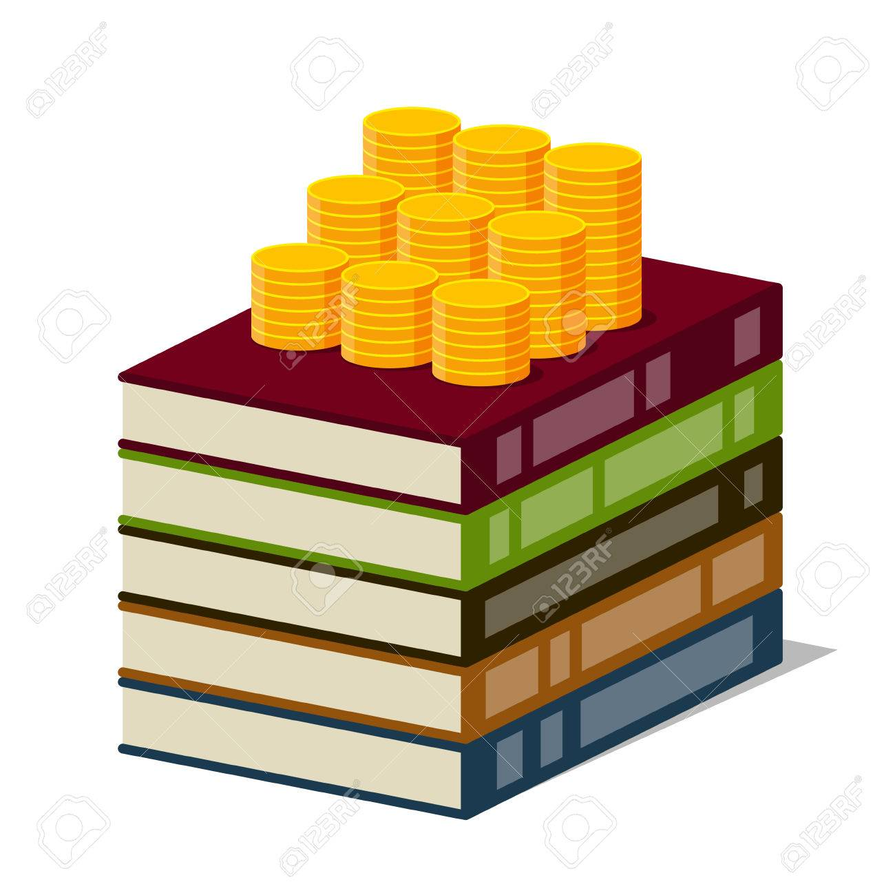 1300x1300 Stack Of Books With Color Covers And Columns Of Gold Coins