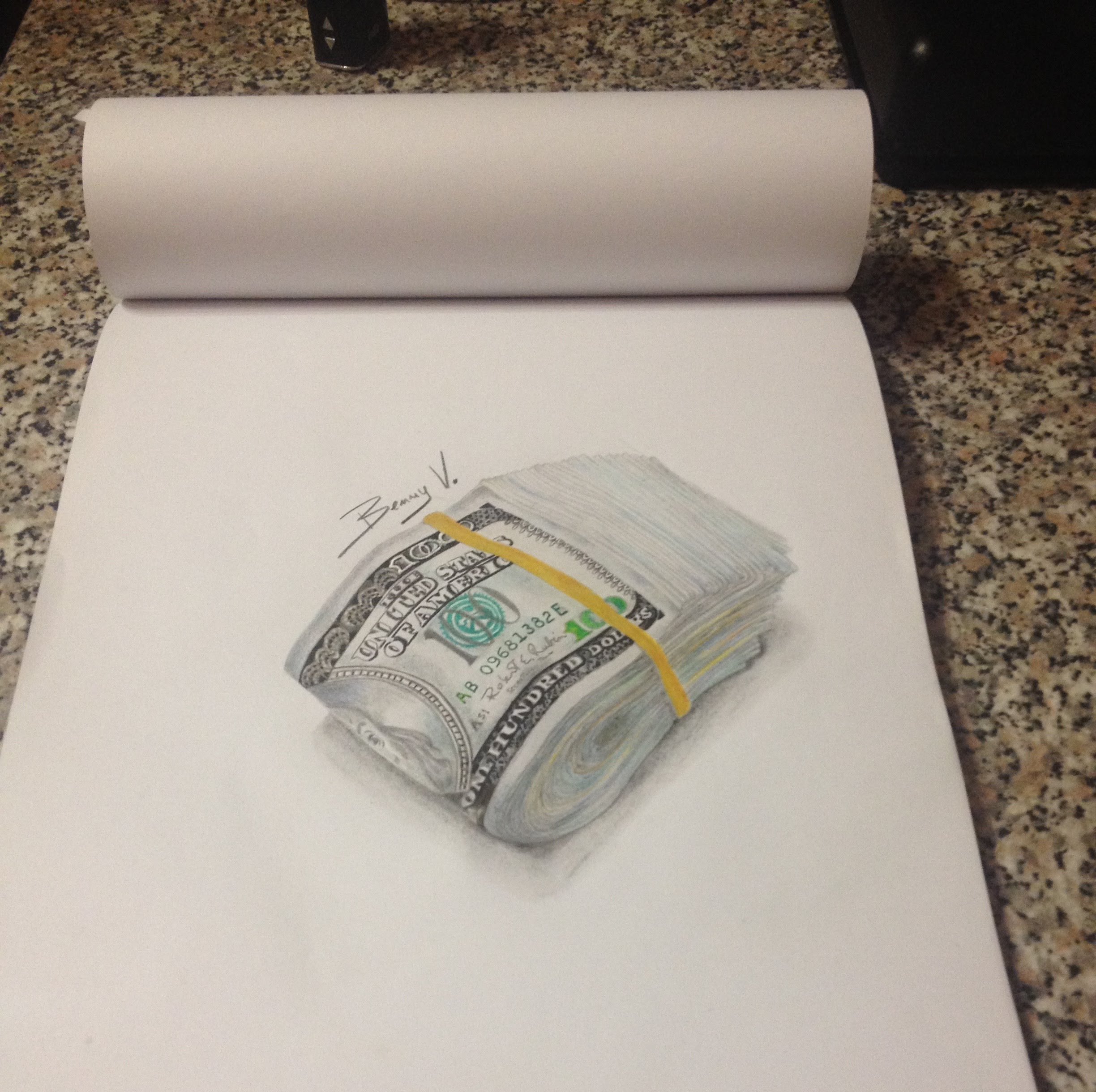 2448x2440 How To Draw Money 100 Dollars