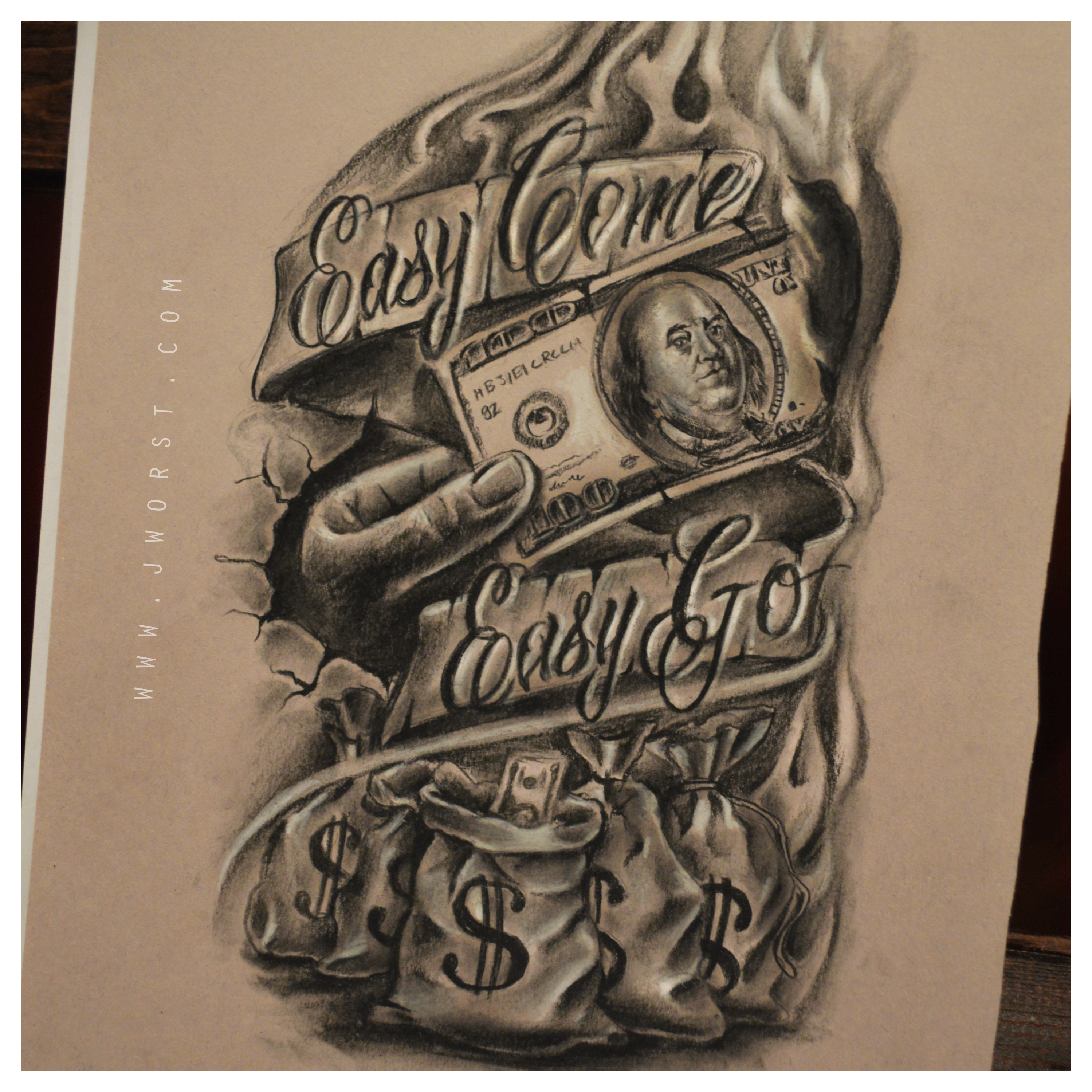 2998x2998 Easy Come Easy Go Tattoo Sketch Drawing By Jeremy Worst Jeremy