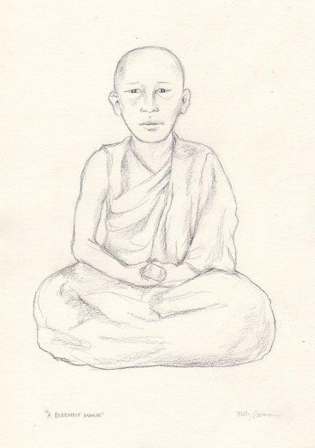 460x653 Buddhist Monk Original Pencil Drawing By Kellygormanartwork