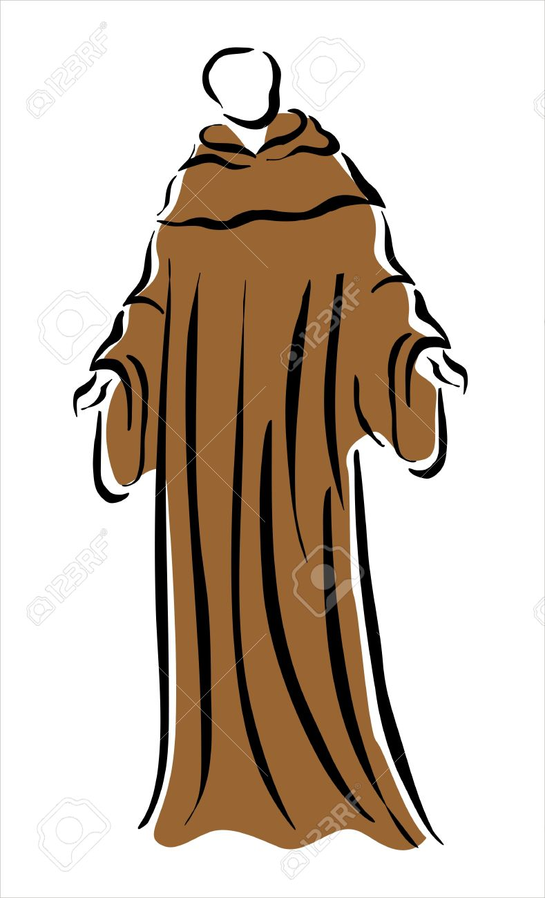 789x1300 Drawing Of A Monk In A Brown Robe Royalty Free Cliparts, Vectors