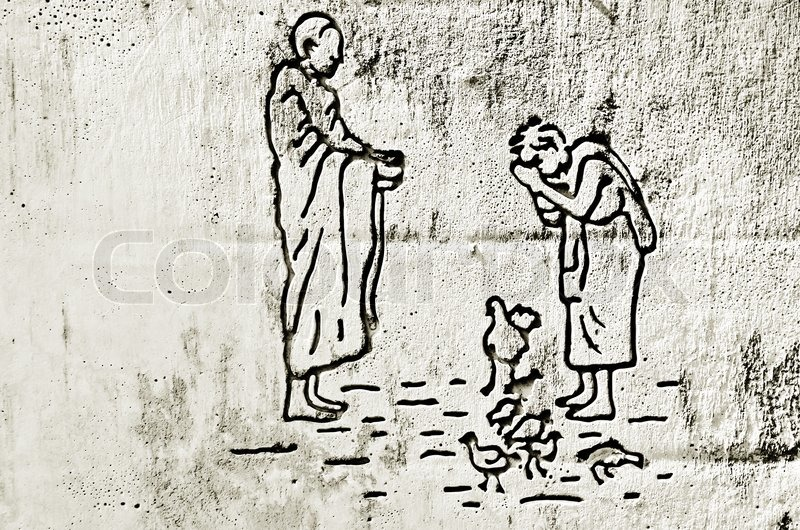 800x530 Give Alms To A Buddhist Monk Drawing On Concrete Wall Stock