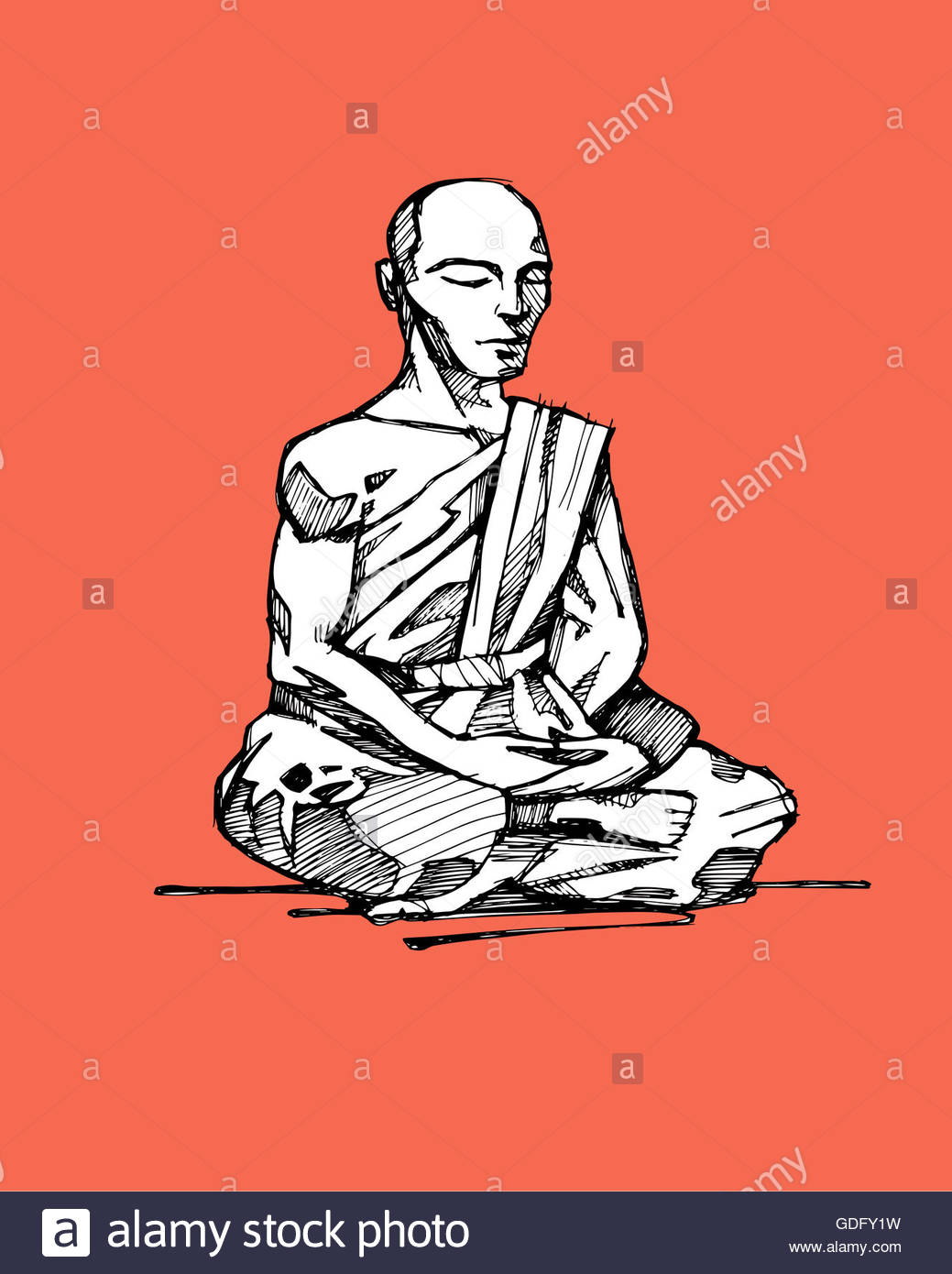 1039x1390 Hand Drawn Illustration Or Drawing Of A Buddhist Monk