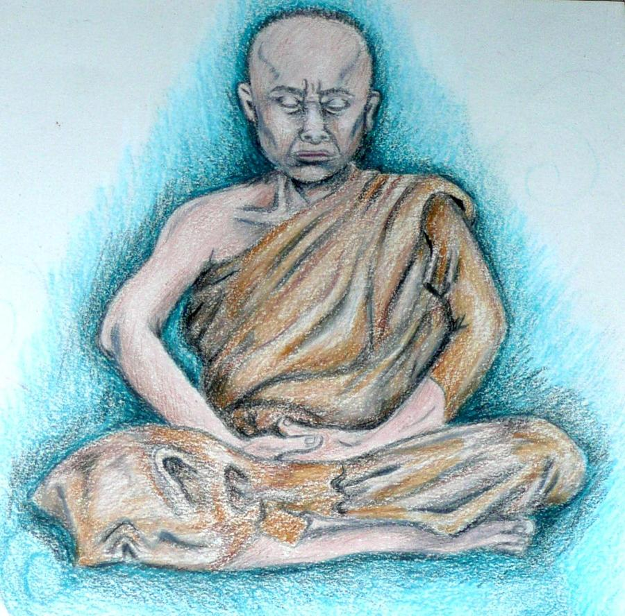 900x888 Meditating Monk Drawing By E White