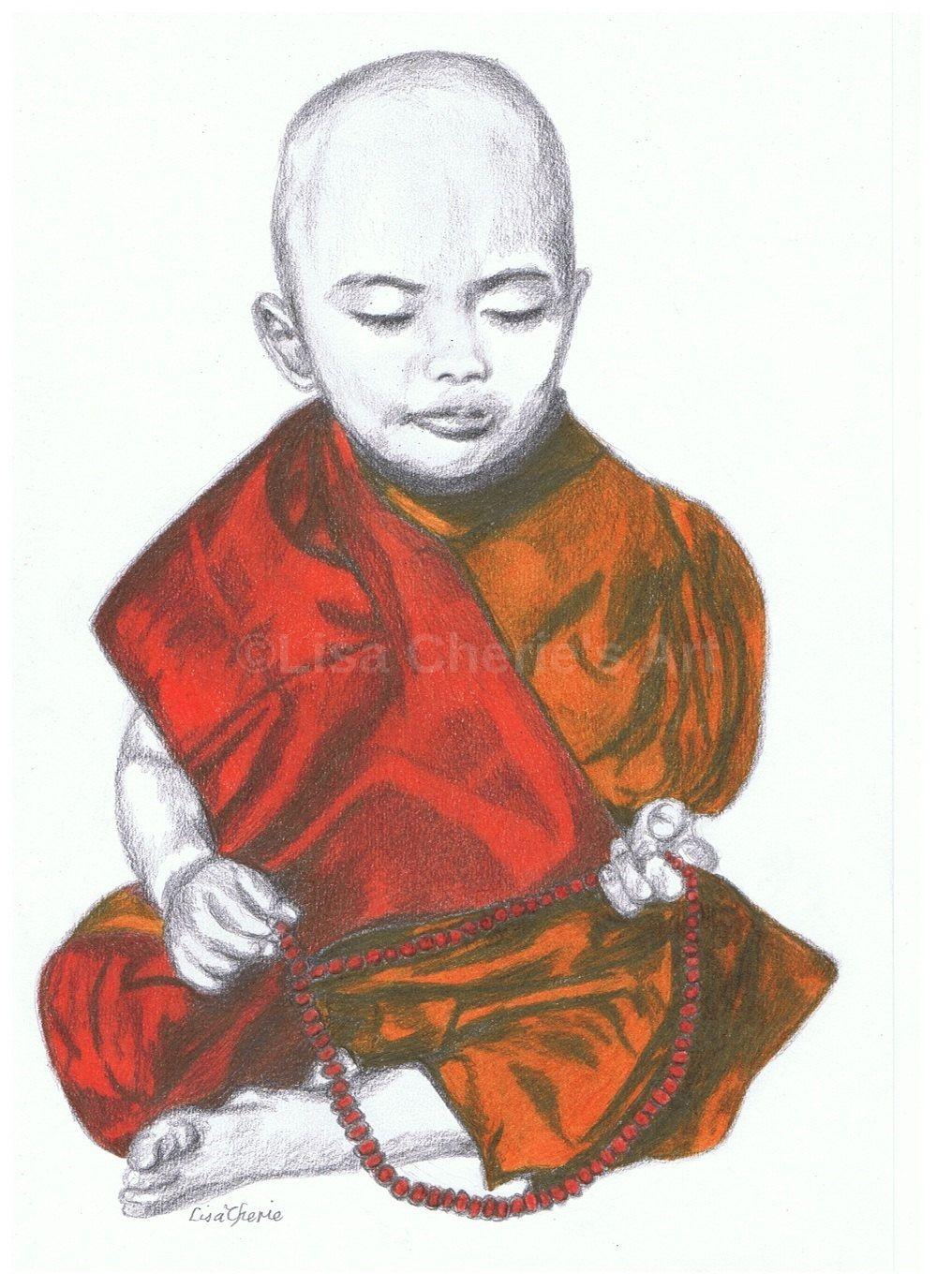 1000x1375 Monk Child With Mala Beads Original Portrait Drawing, Nursery Art