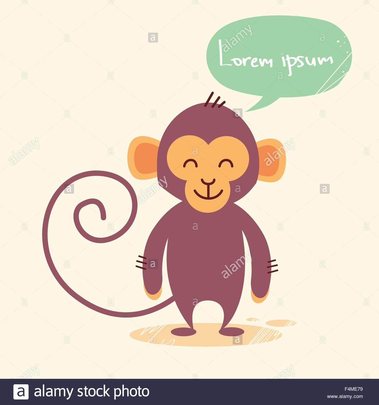 1300x1390 Cute Monkey Cartoon Chat Bubble Drawing Stock Vector Art