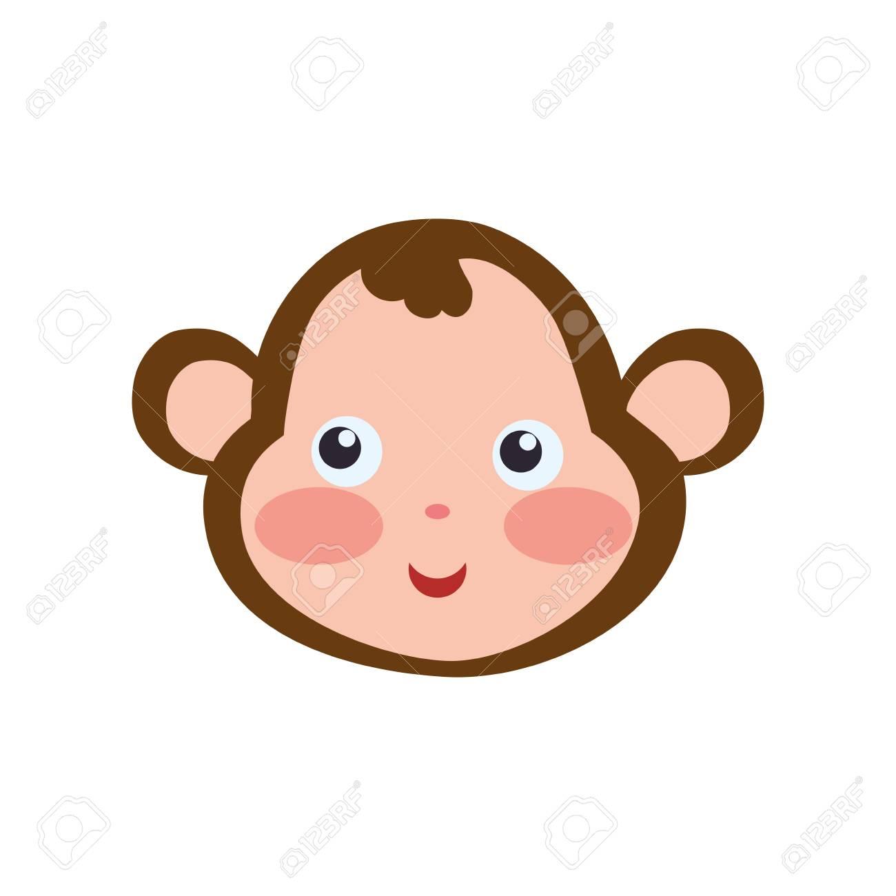 1300x1300 Monkey Cartoon Drawing Head Vector Icon Illustration. Royalty Free