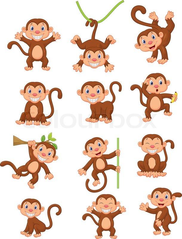 610x800 Vector Illustration Of Happy Monkey Cartoon Collection Set Stock