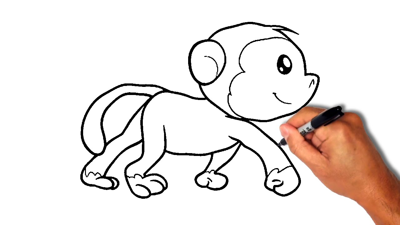 1280x720 Drawing Of A Cartoon Monkey How To Draw A Monkey [Simple