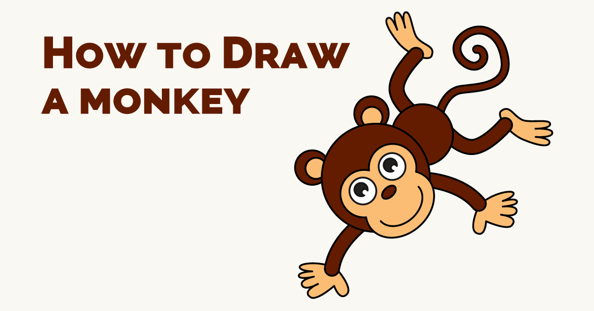 1200x628 How to Draw a Cartoon Monkey in a Few Easy Steps Monkey drawing