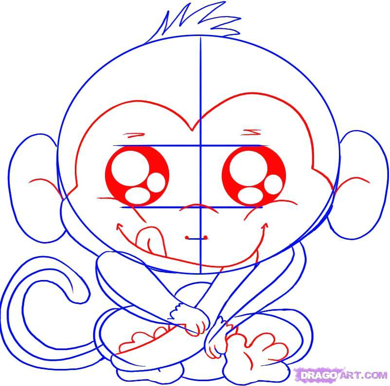 802x794 Monkey Drawing Cute