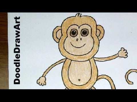 480x360 Drawing How To a Baby Monkey Step by Step! Easy