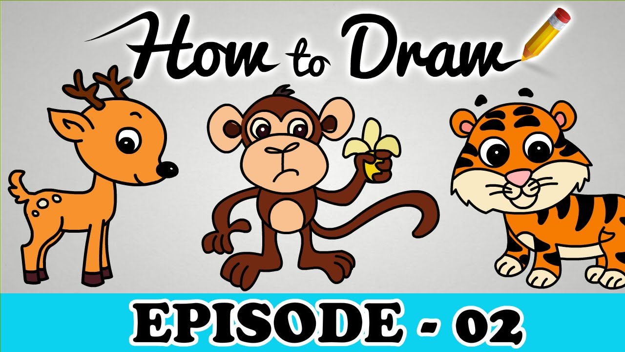 1280x720 How To Draw A Monkey, Tiger amp Deer