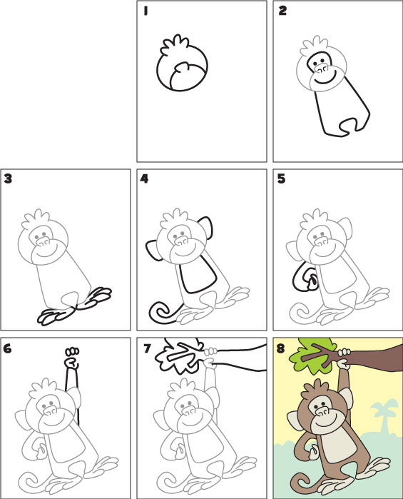565x699 How to Draw a Monkey Kid Scoop
