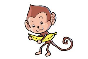 300x200 How to Draw a Monkey For Kids