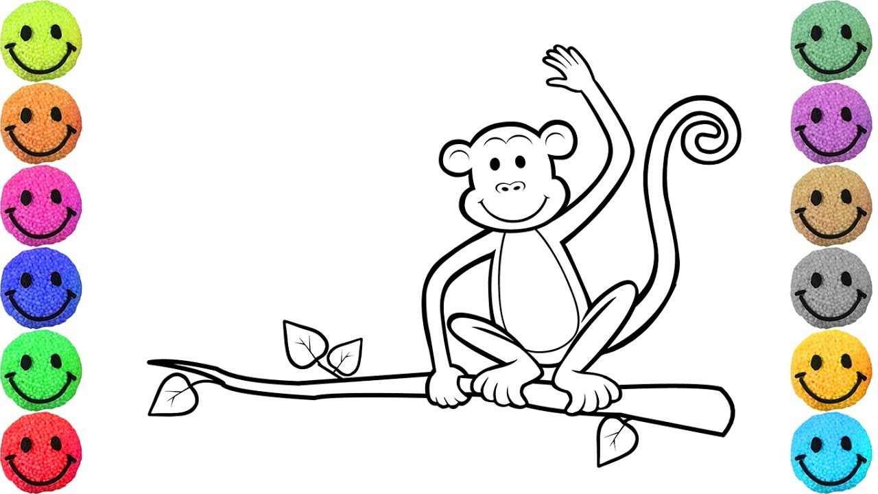1280x720 Monkey Coloring Pages