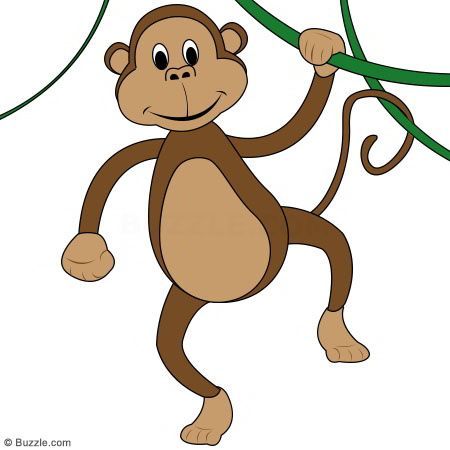 450x450 Elegant Cartoon Monkey Hanging From A Tree Kids Go Ape Step By