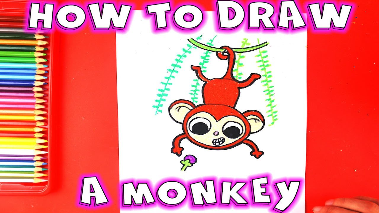 1280x720 How To Draw A Monkey Hanging From A Tree