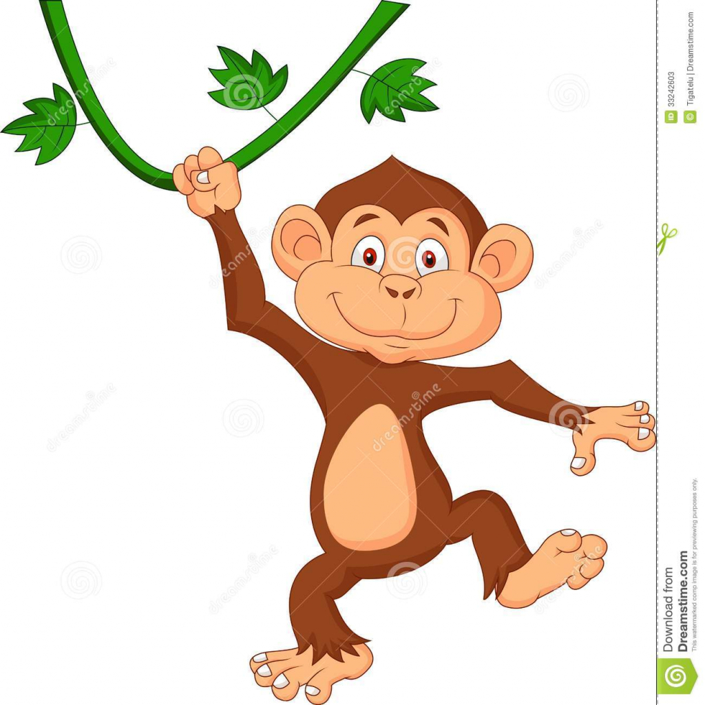 1024x1024 Cartoon Drawings Monkeys Monkey Hanging Tree Stock Photos, Images