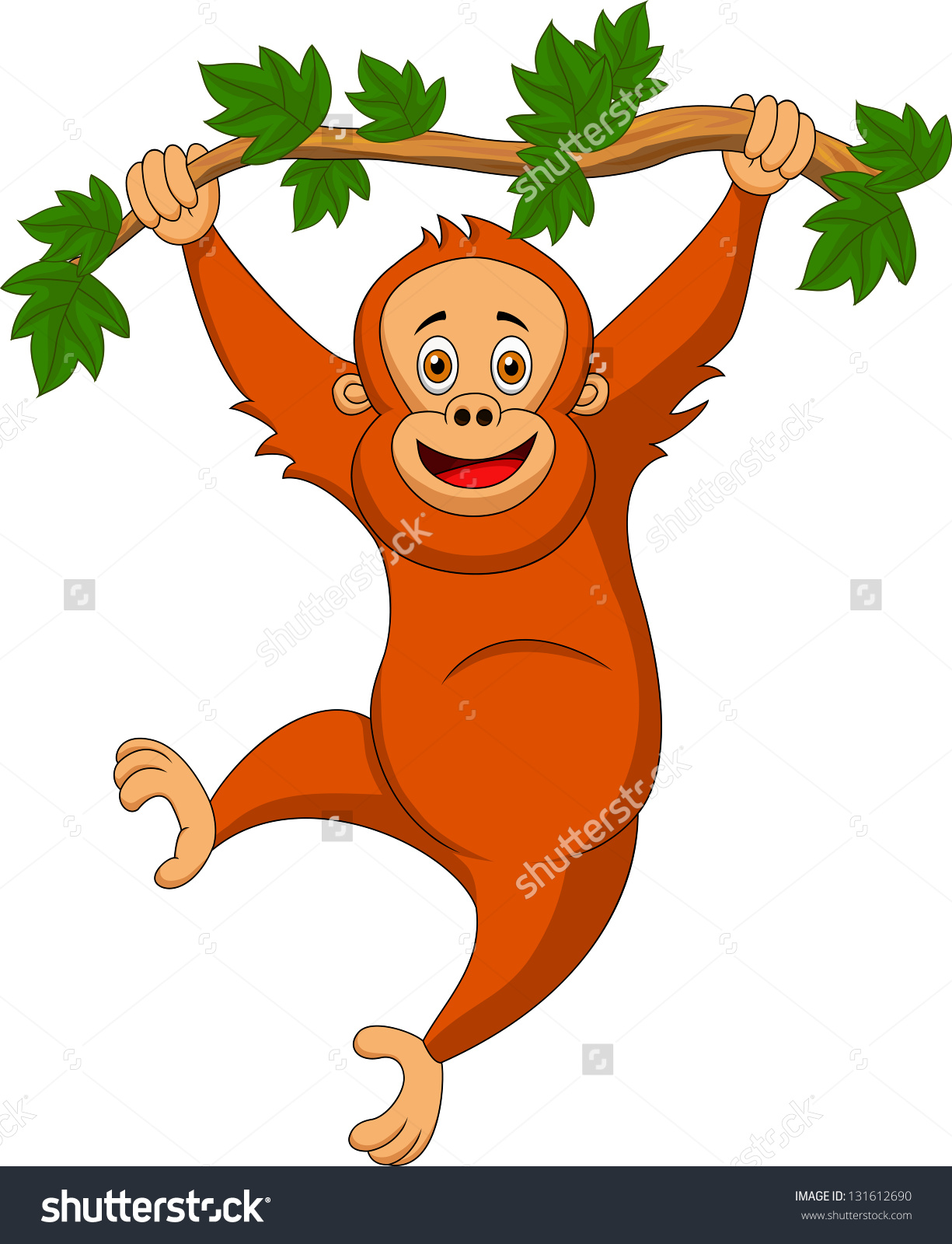 1225x1600 Cute Orangutan Cartoon Hanging On A Tree Branch Stock Vector