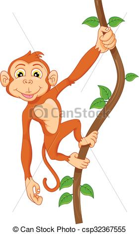 280x470 Vector Illustration Of Cartoon Monkey Hanging In Tree Clipart