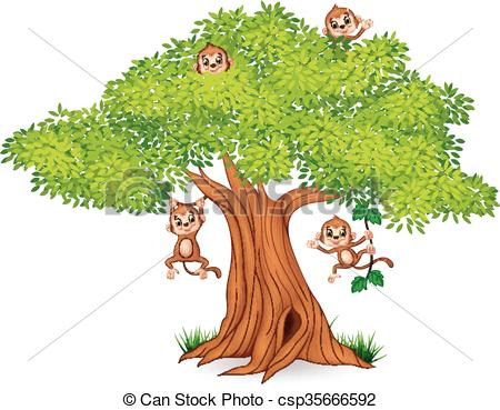 450x369 Vector Illustration Of Happy Little Monkey Hanging On Tree Eps