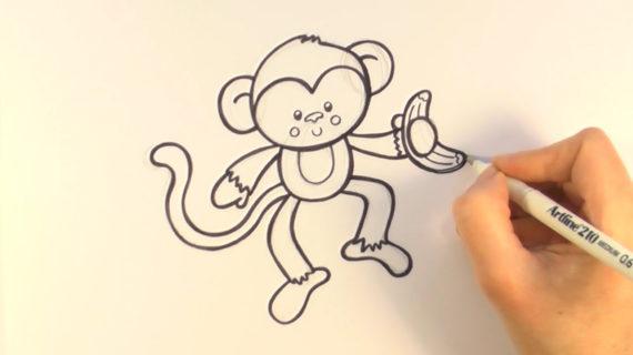 570x320 Cartoon Monkey Drawing How To Draw Cartoon Monkey Holding