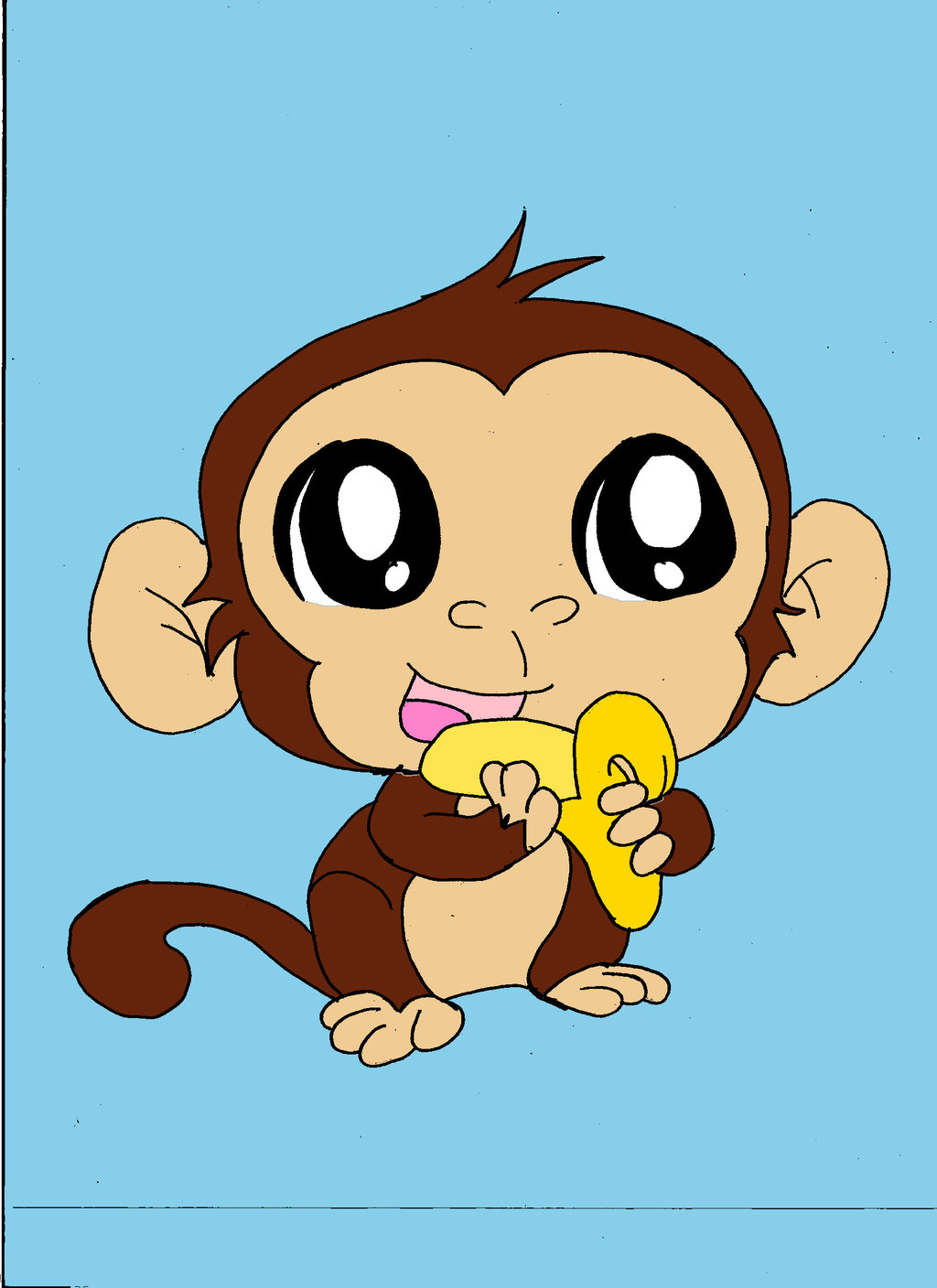 1024x1408 How To Draw A Simple Monkey, Step By Step, Forest Animals, Animals