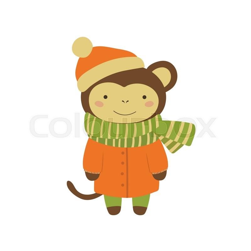 800x800 Monkey In Orange Warm Coat Adorable Cartoon Character. Stylized