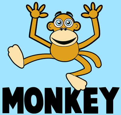 400x382 How To Draw Cartoon Monkeys With Easy Step By Step Drawing