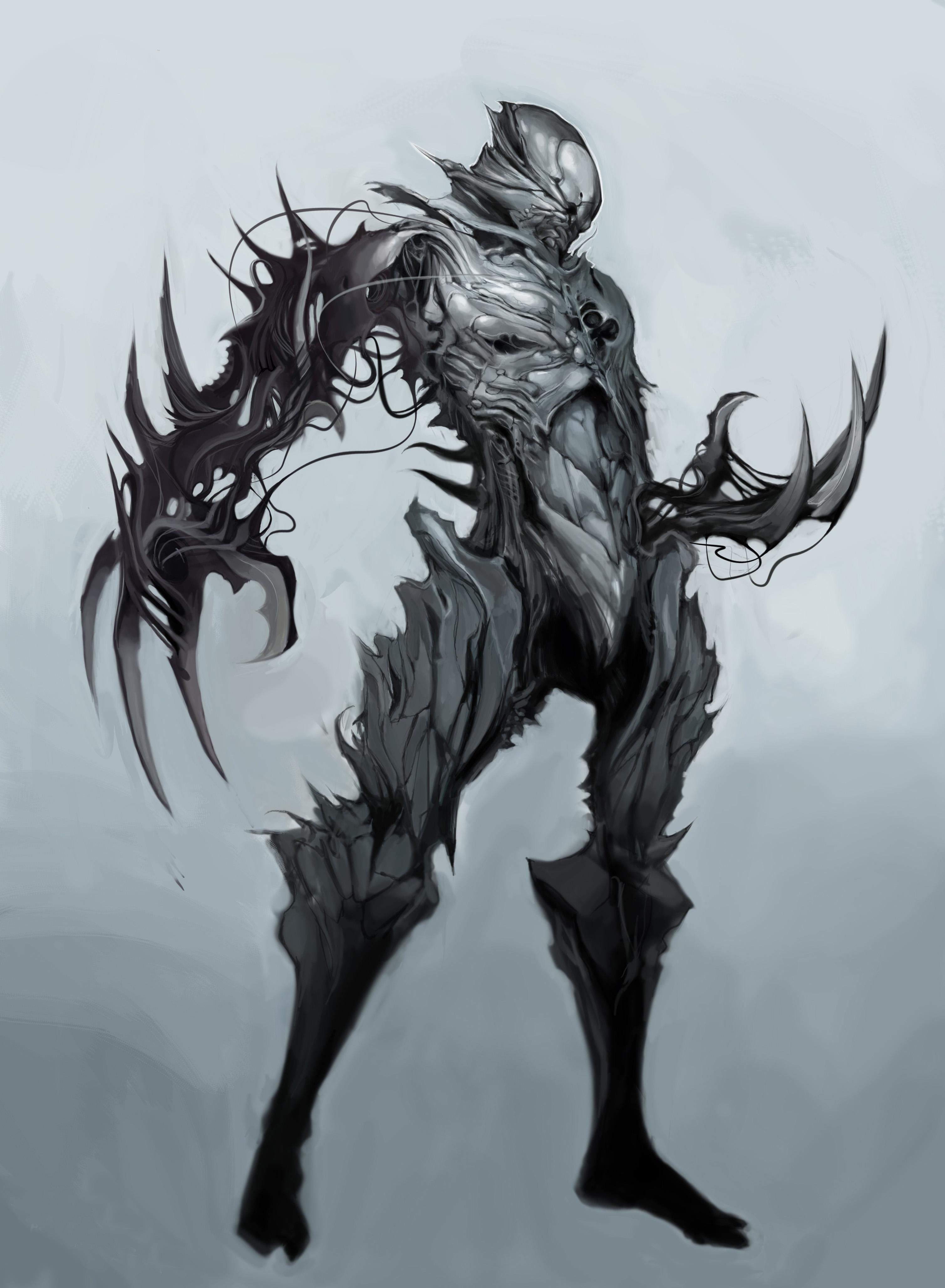 3018x4112 Wallpaper Drawing, Illustration, Monochrome, Knight, Demon
