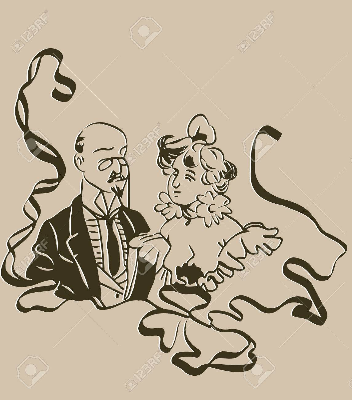 1145x1300 Sketch Of A Bald Man With A Monocle With Him A Woman In A Retro