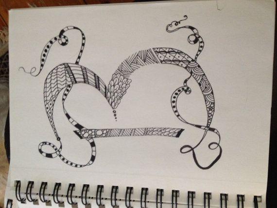 570x428 Custom Zentangle Letters Alphabet Monogram Drawing Custom Made