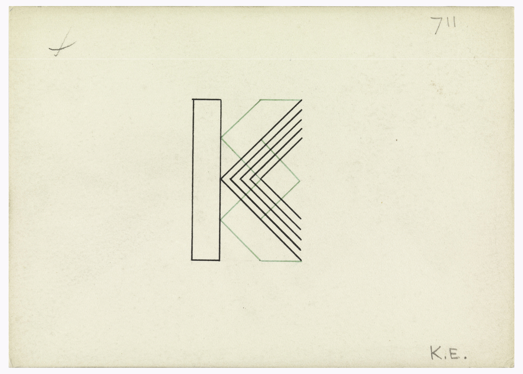 1024x732 Drawing, Design For A Monogram K. E., Ca. Objects