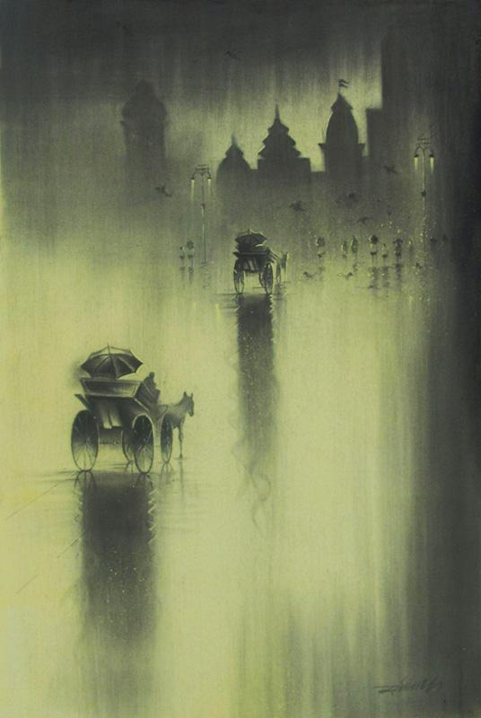 536x800 Monsoon I By Artist Somnath Bothe Charcoal Drawings On Canvas