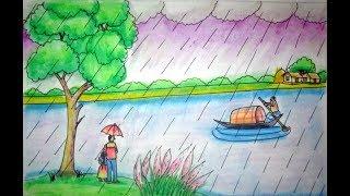 320x180 Rainy Season Drawing Fisher Man Fishing In The River Village
