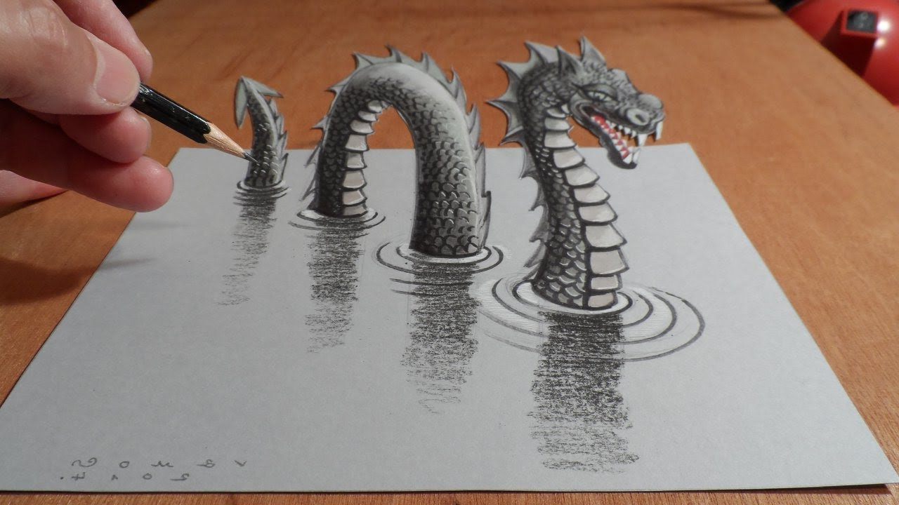 1280x720 3d Drawing Make In Paper How To Draw Monster