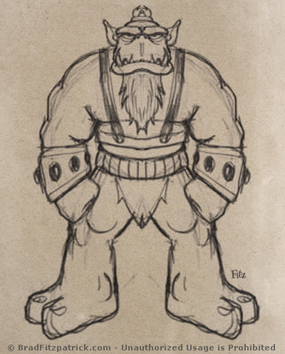 400x496 Giant Troll Monster Drawing