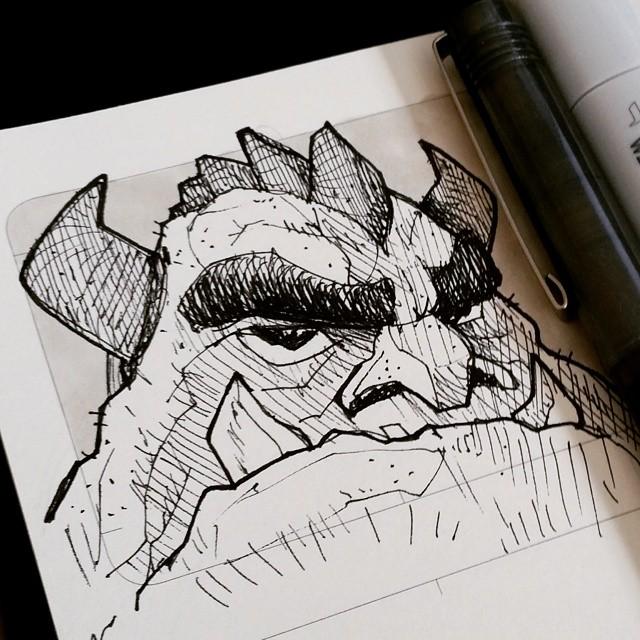 640x640 Pen And Ink Rock Monster Sketch!