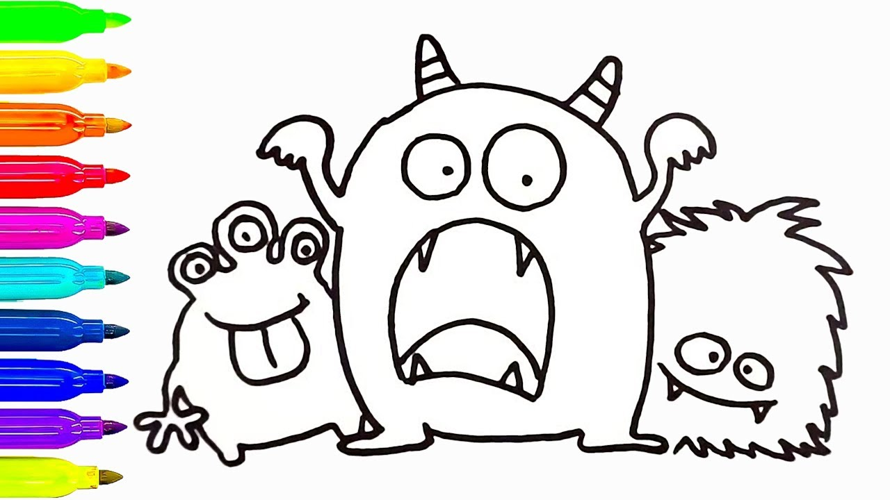 1280x720 Cute Monsters Drawing And Coloring For Kids How To Draw Learn