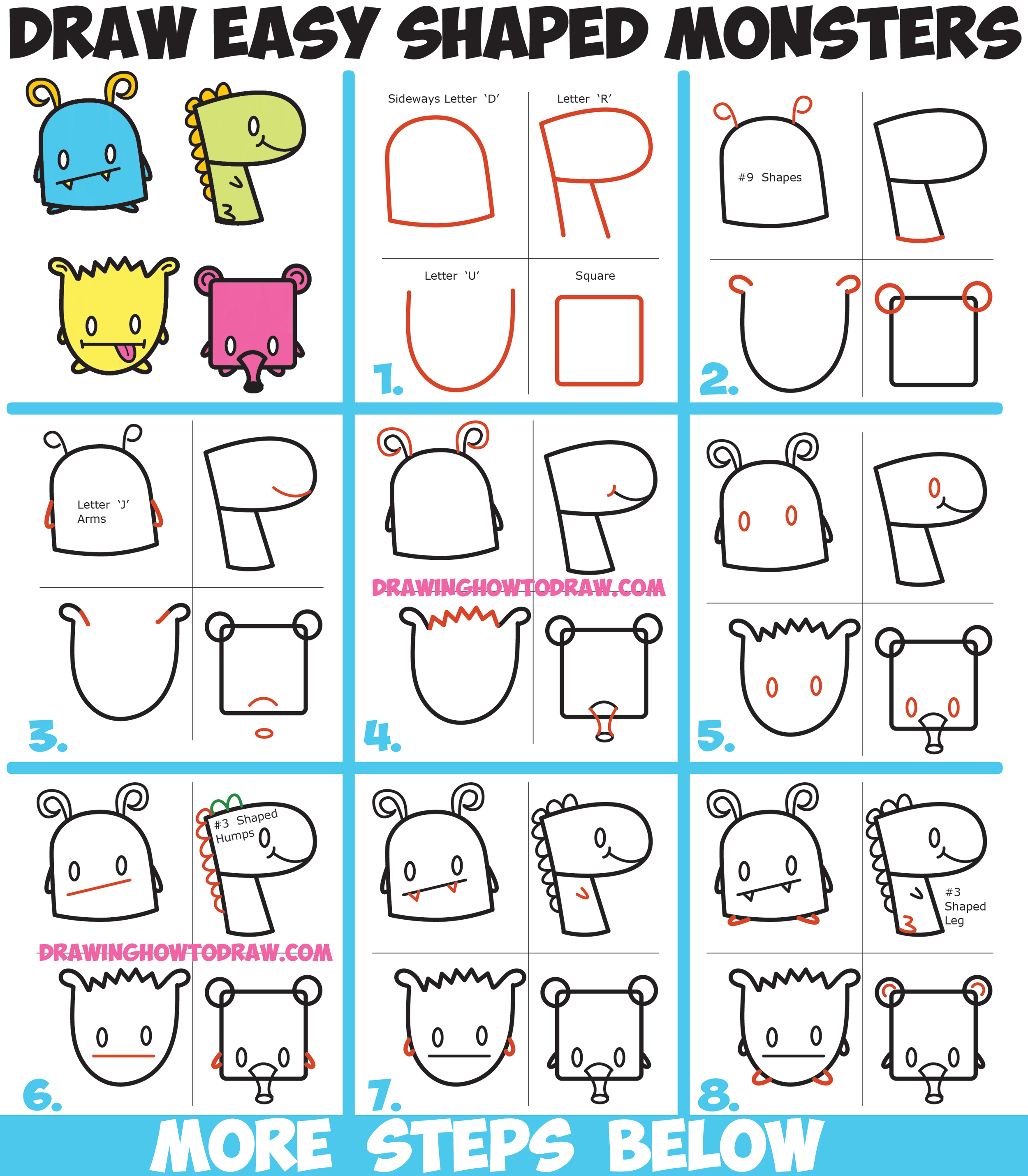 2500x2859 How To Draw Cute Cartoon Monsters From Simple Shapes, Letters