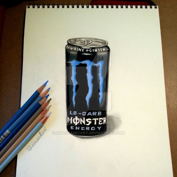 600x600 Monster Energy Drink Drawing By Smackanicart
