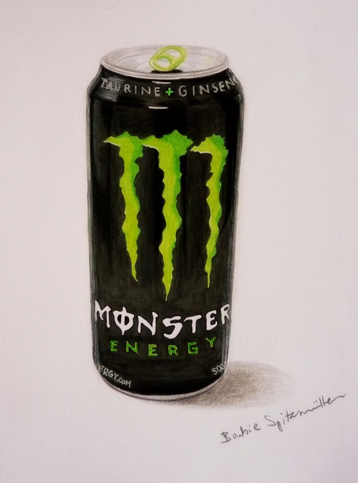 711x960 Monster Energy Drink Drawing By Barbiespitzmuller