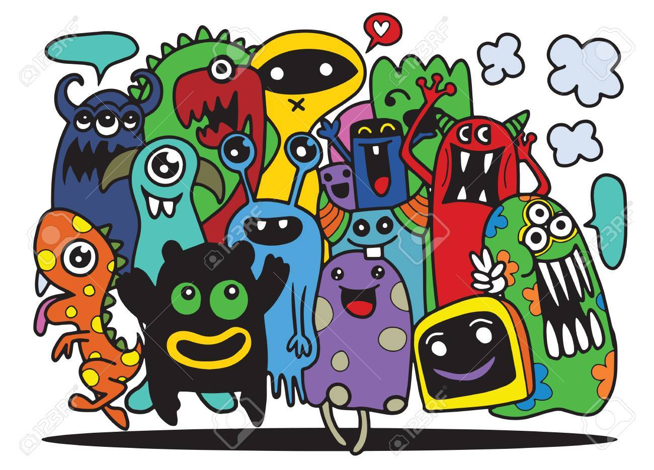 1300x935 Cute Monster Set, Hand Drawing Cute Doodle Monster Group,flat